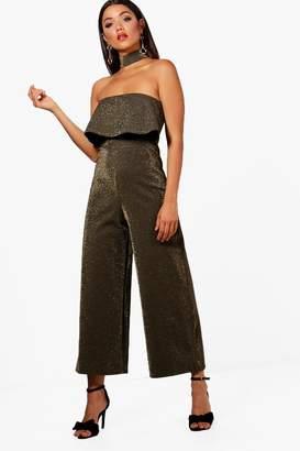 boohoo Mabel Choker Metallic Glitter Culotte Jumpsuit