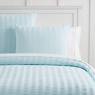 Pottery Barn Teen Sadie Seersucker Organic Duvet Cover, Full/Queen, Faint Blue