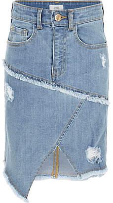 River Island Girls blue asymmetric hem denim skirt