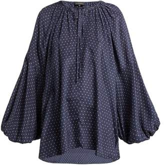 Lee Mathews - Queenie Polka Dot Silk Blouse - Womens - Dark Blue