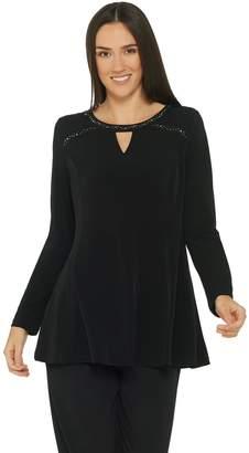 Susan Graver Liquid Knit Embellished Fit & Flare Top