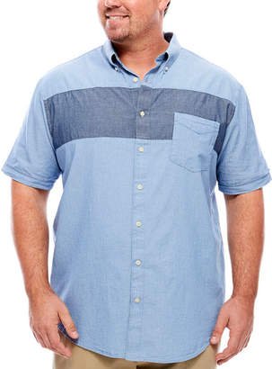 Co THE FOUNDRY SUPPLY The Foundry Big & Tall Supply Short Sleeve Stripe Button-Front Shirt-Big and Tall