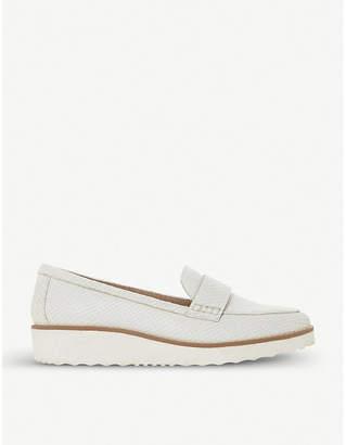 Dune Gessie crocodile-embossed leather flatform loafers