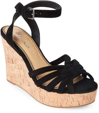 Splendid Black Fallon Cork Wedge Sandals