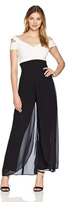 Sangria Women's Cold Shoulder Jumpsuit with Sweetheart Neckline