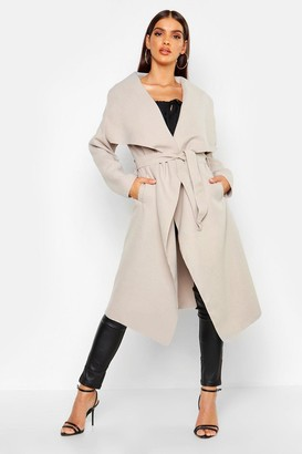 boohoo Kate Belted Shawl Collar Coat $35 thestylecure.com