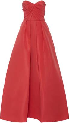 Monique Lhuillier Pleated Silk-Faille Gown