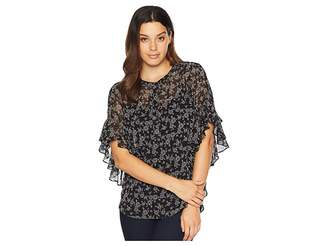Vince Camuto Flutter Sleeve Ditsy Roses Henley Blouse