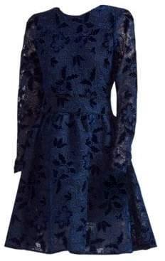 Maje Women's Guipure Lace Fit-&-Flare Dress - Blue - Size 2 (M)