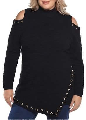 Belldini Plus Embellished Cold Shoulder Sweater