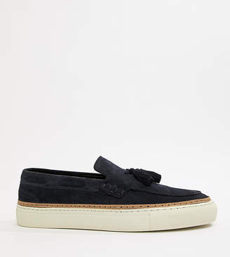 Asos Design Loafers In Navy Suede With White Sole