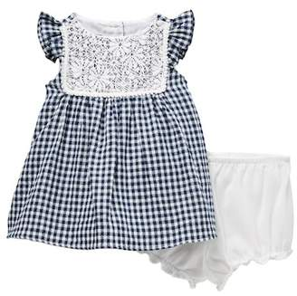 Pippa Pastourelle by and Julie Flutter Sleeve Gingham Lace Dress (Baby Girls 12-24M)