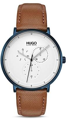 HUGO #GUIDE Brown Leather Watch, 40mm
