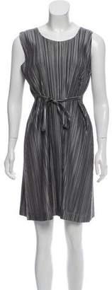 Pleats Please Issey Miyake Pleated Sleeveless Belted Dress