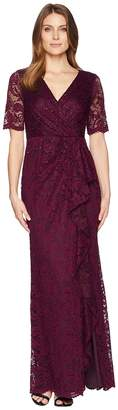 Adrianna Papell Long Stretch Lace Gown with Beaded Detail and Cascade Skirt Women's Dress