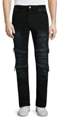Slim Fit Zipper Flaps Jeans