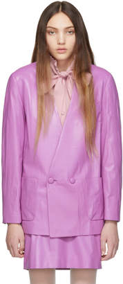 Gucci Purple Leather Oversize Jacket