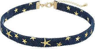 Canvas Denim with Stars Choker Necklace