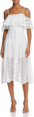AQUA Off-The-Shoulder Lace Midi Dress - 100% Exclusive $148 thestylecure.com