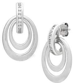 Lord & Taylor Diamonds and Sterling Silver Drop Earrings