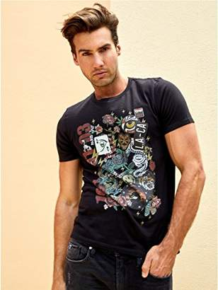 GUESS Men's Short Sleeve Patches Crew Neck Tee