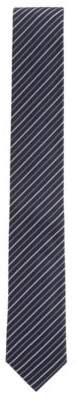 BOSS Hugo Diagonal striped tie in silk jacquard One Size Open Blue