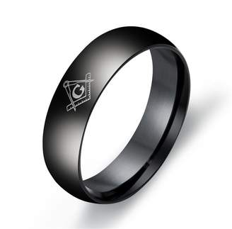 AG Jeans LILILEO Jewelry 6mm Stainless Steel Black Plating Simple Dome Masonic Logo Ring For Men's Rings