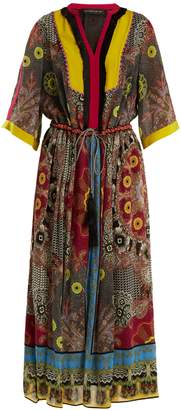 Etro Jungle-print fringe-trimmed silk dress