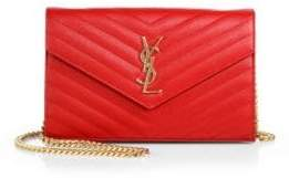 SAINT LAURENT Medium Monogram Mattelasse Leather Chain Wallet
