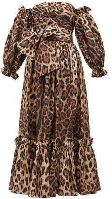 Dolce & Gabbana Detachable Puffed Sleeve Leopard Print Midi Dress - Womens - Leopard