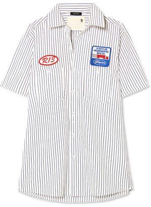 R 13 Appliquéd Striped Cotton-poplin Shirt