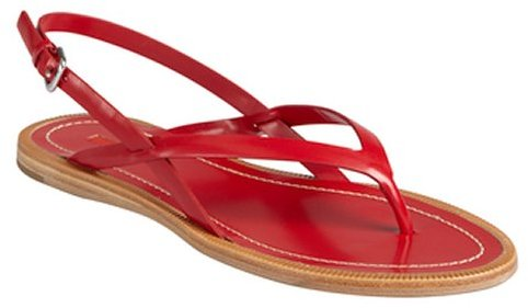 Prada Sport scarlet leather crisscross strapped sandals
