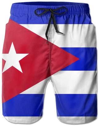 Trunks FHAGOSME Cuban Flag Mens Slim Fit Quick Dry Short Swim With Mesh Lining