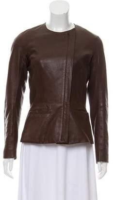 Theory Leather Collarless Jacket