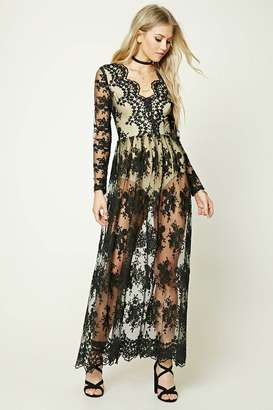 FOREVER 21+ Embroidered Lace Overlay Dress $37.90 thestylecure.com