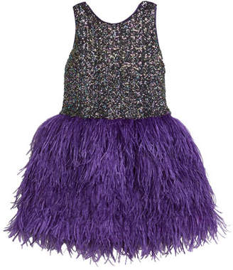 Zoe Girl's Sequin Sheath Dress w/ Feather Skirt, Size 7-16