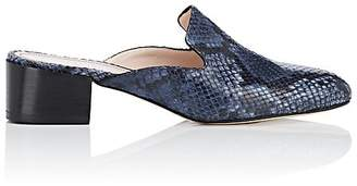 Barneys New York Women's Snakeskin-Stamped Leather Mules