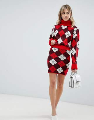 PrettyLittleThing knitted mini skirt in red argyle