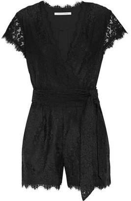 Diane von Furstenberg Purdette Wrap-Effect Corded Lace Playsuit