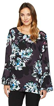 Chaus Women's Long Sleeve Tiered SLV Twilight Blooms Blouse