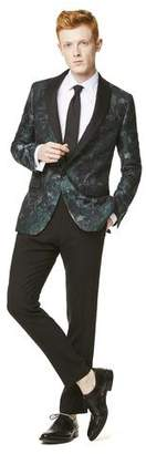 Todd Snyder Silk Watercolor Jacquard Sutton Shawl Collar Dinner Jacket in Green