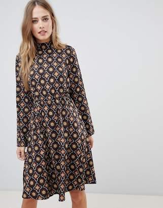 Vila tile print high neck dress