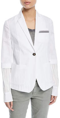 Brunello Cucinelli One-Button Cotton-Blend Jacket with Inset Balloon Sleeve