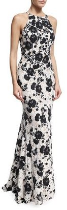 Jovani Embroidered Floral Lace Sleeveless Gown, Black/White $650 thestylecure.com