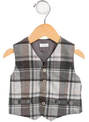 Il Gufo Boys' Plaid Button-Up Vest