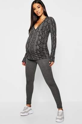 boohoo Maternity Snake Print Wrap Lounge Set