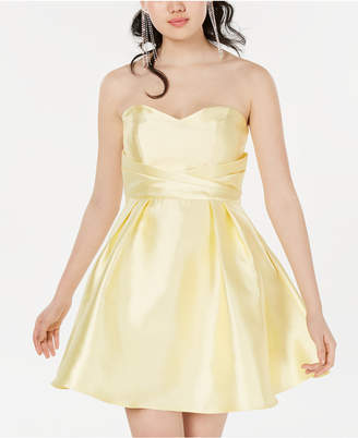 Teeze Me Juniors' Strapless Sweetheart Fit & Flare Dress