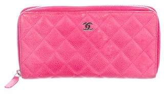 Chanel Quilted Caviar Zip Wallet