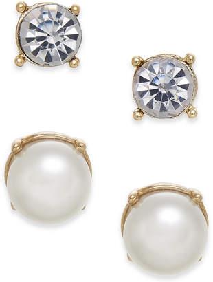 Charter Club Gold-Tone 2-Pc. Set Crystal & Imitation Pearl Stud Earrings