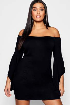 boohoo Plus Bardot Ruffle Flare Sleeve Bodycon Dress
